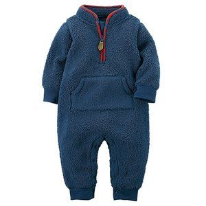 NWT Carter's Baby Boy Blue Faux Sherpa Jumpsuit